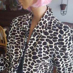 Animal print zip up jacket SZ 10